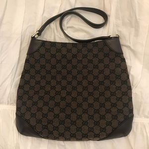 Authentic Gucci GG Canvas and Leather Shoulder Bag